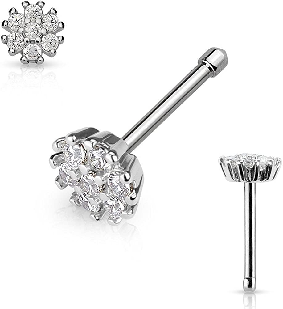 Covet Jewelry CZ Flower Top 316L Surgical Steel Nose Bone Stud Rings