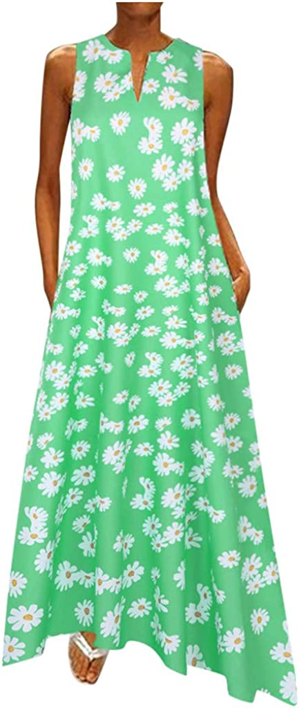 ZSBAYU Womens Summer Bohemian Maxi Long Dress Plus Size Daily Casual Print V Neck Sleeveless Vintage Long Dresses