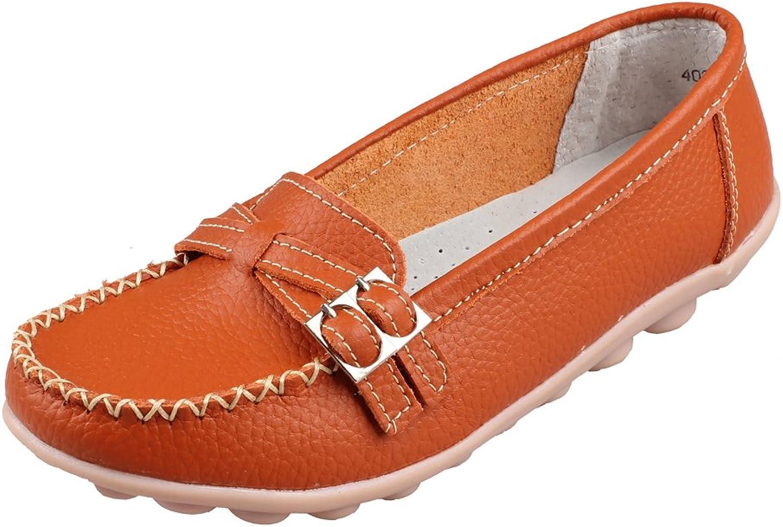 Kunsto Women's Leather Low Heel Loafer shoes Slip On