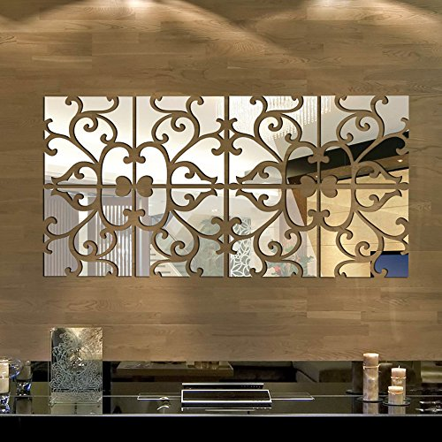Anself 8pcs Removable DIY 3D Acrylic Mirror Wall Decal Set Sticker Art Decals Mural for Home Decoration