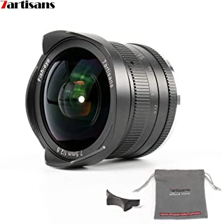 7artisans 7.5mm F2.8 APS-C Wide Angle Fisheye Fixed Lens for Sony Emount Cameras Like A7 A7II A7R A7RII A7S A7SII A6500 A6...