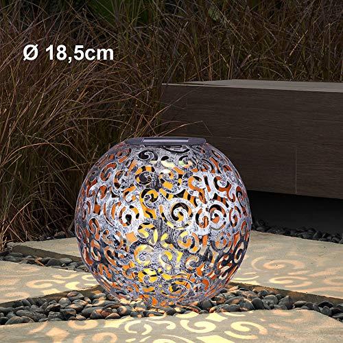 LED Design Solar Kugel Steck Leuchten rost silber Garten Außen Erdspieß Lampen Terrasse, Farbe:silber antik D 18.5 cm