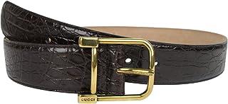 81492ecf656 Gucci Women s Gold Square Buckle Dark Brown Crocodile Belt 257319 E7I0T 2140