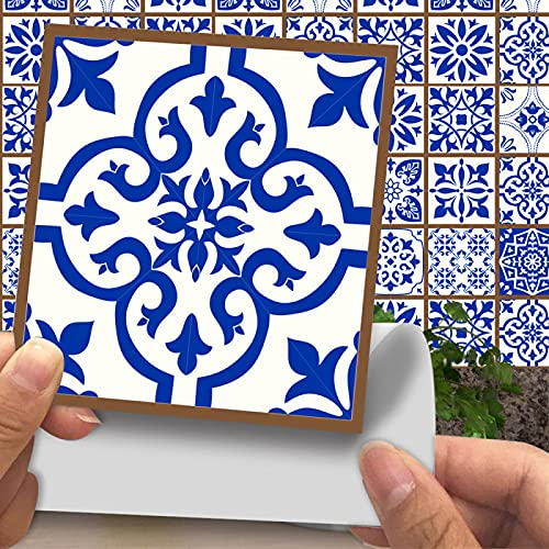 CACAIMAO Pegatinas De Azulejos De Patrón Retro De Simulación, Pegatinas De Suelo Gruesas Resistentes Al Desgaste, Pegatinas De Pared Decorativas De Mosaico 20 Piezas 20cm*20cm