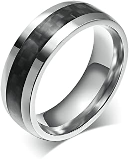 8MM Black Carbon Fiber Inlay and Beveled Edges Men's Stainless Steel Ring Wedding Band