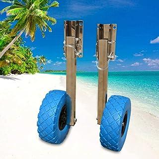 """SHZICMY Roues arrière pliables en acier inoxydable 10"""" x 3"""" - Pour bateaux pneumatiques jusqu'à 136 kg."""