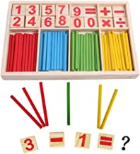 Resulzon Bright Colorful Homeschooling School Wooden Number Cards And Counting Stick Rods With Box for Fun