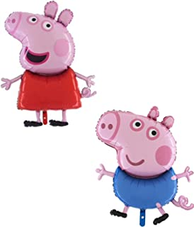 Pack of 2 - 37 Inch Giant Jumbo Size Peppa Pig & George Pig Character Foil Balloon - Party Balloons