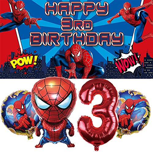 Spiderman 3rd Party Supplies | 3 | Third | Decorations | Banner | Balloons | For Boys | Backdrop | Birthday | Set | Decor