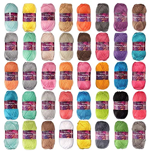 Amigurumi Select 100% Acrylic Craft Yarn - Crochet and Knitting Projects - Every Color - 40 x 50g Skeins Total 5000 yds.