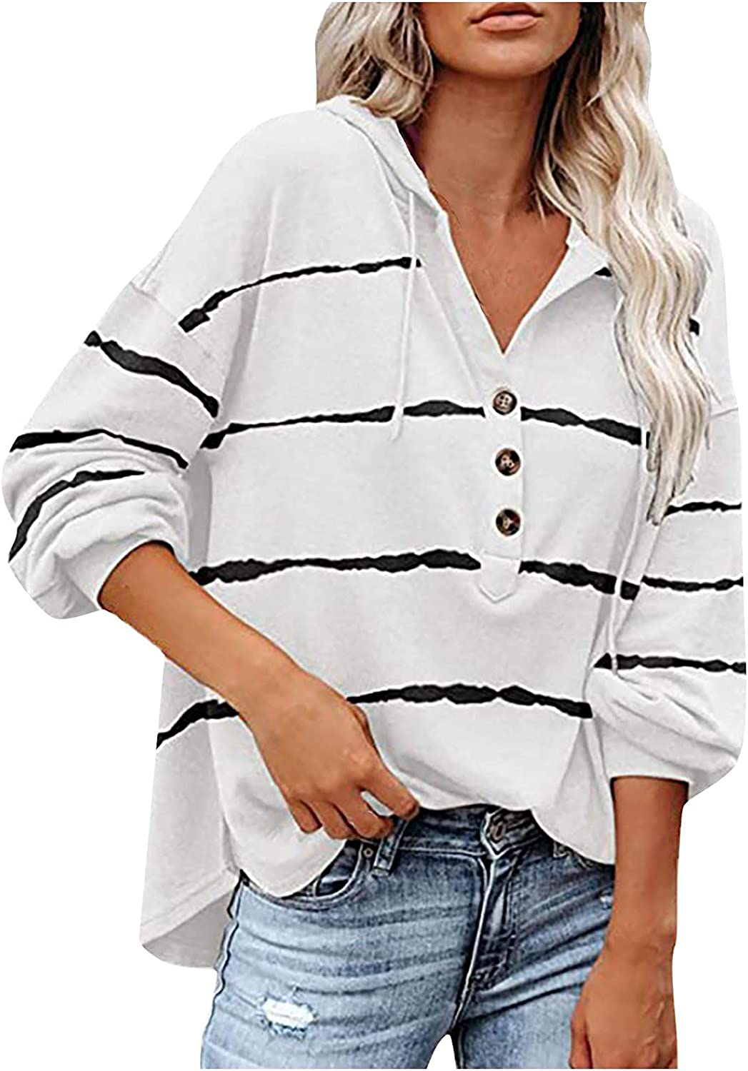 Kanzd Las Vegas Mall Long Mail order cheap Sleeve Shirts for Stripe V-Neck Casual T Women