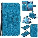 BoxTii Coque Galaxy S4, Etui en Cuir de Première Qualité [avec Gratuit Protection D'écran en Verre Trempé], Housse Coque pour Samsung Galaxy S4 (#6 Bleu)