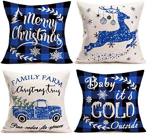 Farmhouse Christmas Buffalo Plaids Fundas de Almohada Juego de 4 Farm Fresh Christmas Tree Decor Xmas Snowflake Quote Funda de Almohada de Lino de algodón 18x18 Pulgadas Funda de cojín Cuadrado-4 BLU