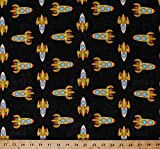 Cotton Sock Monkeys in Space Rocket Ships Spaceships Bananas Spacecraft Kids Children's Outer Space Cotton Fabric Print by The Yard (41170)