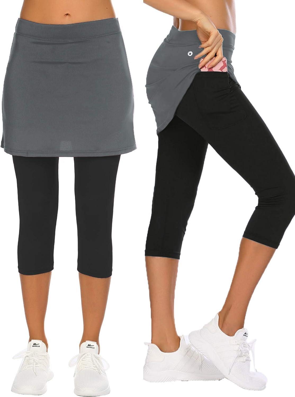 COOrun Women's Skirted Leggings Capri Skirt Yoga Regular store with Max 89% OFF Pockets Ac