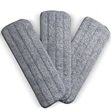 Washable Microfiber Mop Head (3 Pack) - Microfiber Replacement Mop Pads 16 x 5.5 Inches for Cleaning of Wet or Dry Floors - Professional Home/Office Cleaning Supplies, Gray