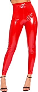 Women's Wet Look Full Length PVC Stretch Elasticated Jeggings Leggings - Red - US 4 (UK 8)