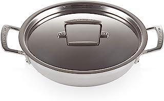 Le Creuset 3-lagers rostfritt stål grund gryta med lock, 24 x 6,2 cm