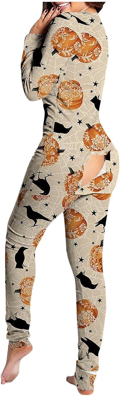 Jumpsuits for Women, Women's Sexy Butt Flap Pajamas Onesies Long Sleeve V Neck One Piece Jumpsuit Romper Sleepwear