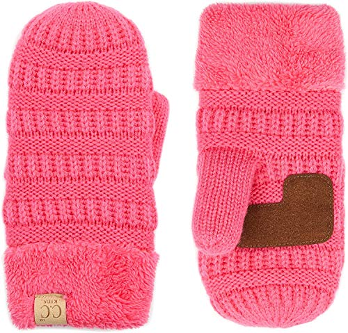 Mittens Kids Girls Fuzzy Lined Gloves - Candy Pink