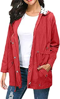 Womens Casual Lightweight Waterproof Raincoats Packable Active Hooded Trench Coats