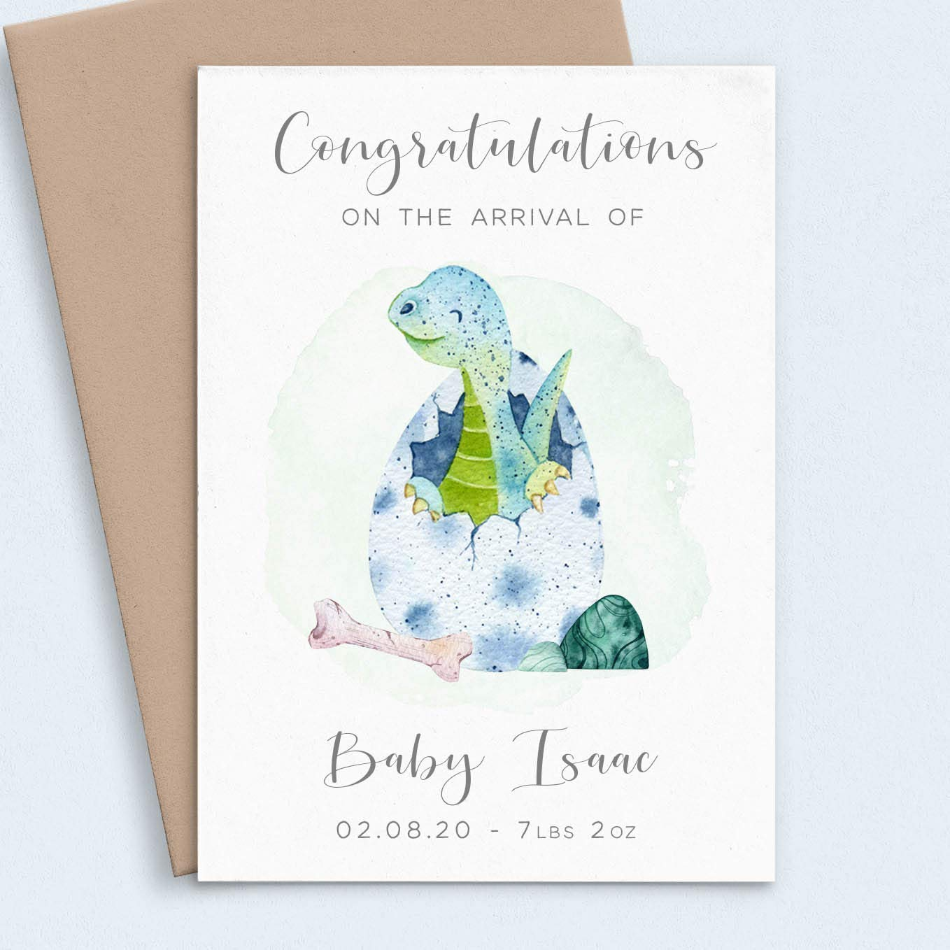 Dinosaur New Baby Boy Card Personalised, Name & Date of your ...