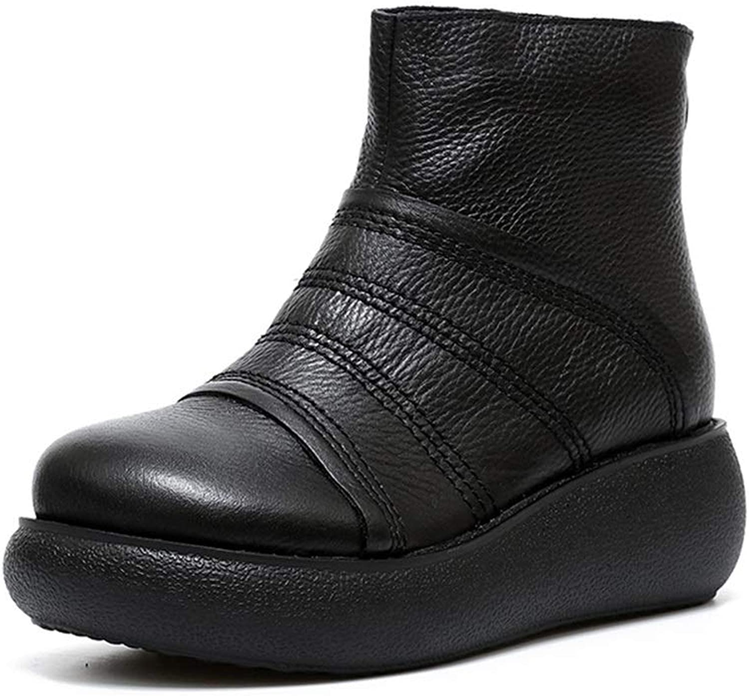 Womens Leather shoes Wedges Boots Platform shoes Slip On Ankle Boots Fashion Casual shoes Martin Boots Black Brown (color   Black, Size   35)