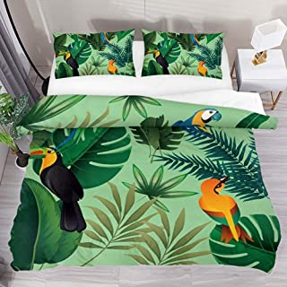 jonycm Juego De Cama Tropical Leaves Toucan Bird 3Pcs Modern Customize Colcha Edredón con 2 Fundas De Almohada 1 Funda Nórdica Juego De Cama Funda Nórdica Juego 177X218Cm