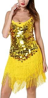 Deloito Kleid Deloito Damen Sexy Rückenfrei Tanzrock Kostüme Salsa Tango Latein Tanz Kleid Party Quaste Pailletten Tanzkleid Wettkampfanzug