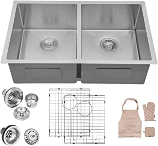 LORDEAR SLJ16001 Modern 32 Inch 16 Gauge 10 Inch Deep Handmade Stainless Steel Farmhouse Apron Front Drop In Undermount 50/50 Double Bowl Kitchen Sink, Sink Including Dish Grid and Basket Strainer