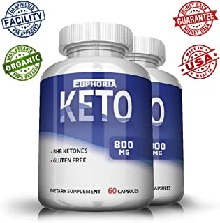 Euphoria Nutrition Ultra Premium Keto Pills - Best Results When Used with Keto Diet - Ketosis Supplement for Women and Men - Keto Capsules - Premium Keto - May Boost Energy - Pure Keto 2 Pack: 1600mg