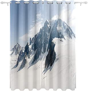 Winter Mountains Snow Mountains Decorative Hanging 2 Panel Set Printed Blackout Window Curtains for Bedroom Living Room Di...