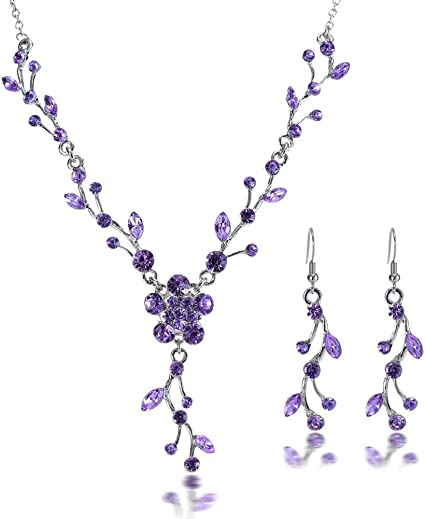 Pearl /& Crystal with rhinestone drop 2 pc jewelry set