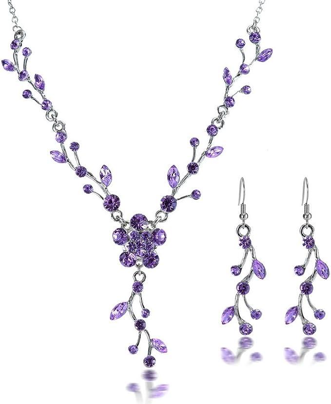 Dark Purple Jewelry Set Set Of Necklace Earrings Flower Girl Jewelry Dark Wedding Favors Purple Bridesmaid Gift Set