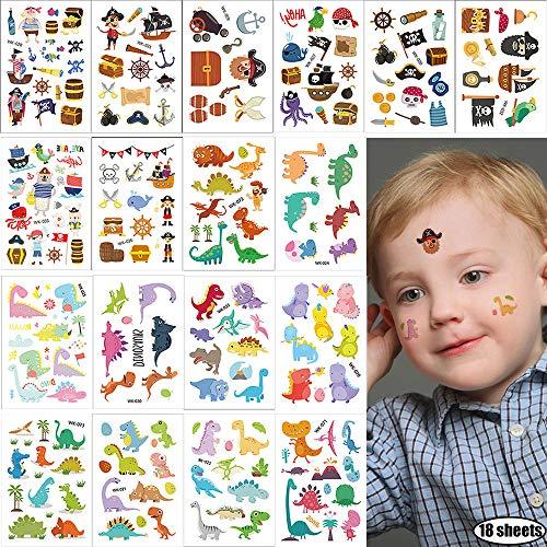 Kids Temporary Tattoos 18 Sheets Small Fake Tattoo Stickers Summer Beach Dinosaur