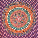 MOMOMUS Wandteppich Mandala -Ethnisch-100% Baumwolle, Groß, Mehrzweck - Wandtuch, Strandtuch XXL, Pareo Tuch - Bettüberwurf/Sofaüberwurf & Überwurf für Sofa/Couch, Bett - 210x230 cm, Orange Blau