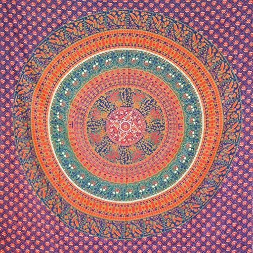 MOMOMUS Tapiz Mandala Étnico - 100% Algodón, Grande, Multiuso - Pareo/Toalla de Playa Gigante - Cubre Sofá/Cama - Telas para Decoración de Pared - 210x230 cm, Azul y Naranja