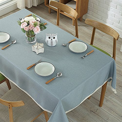 Ommda Moderno Mantel Antimanchas Rectangular Mantel Lavable con Borde de Encaje para Diseño de Comedor Jardin Cocina 100x140cm Azul Gris