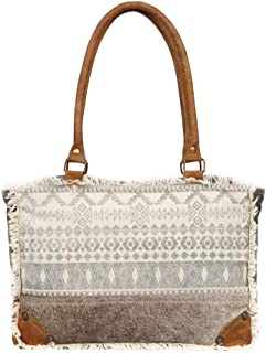 Myra Bag Symbols Upcycled Canvas & Cowhide Leather Bag S-1227