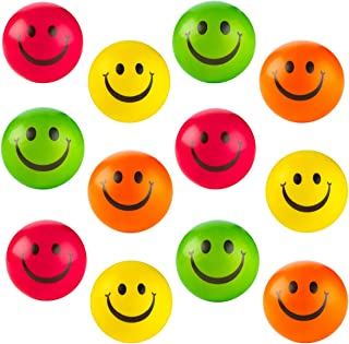 """Colorful Smiley Face Stress Balls - Pack of 12 2.5"""" Smile Squeeze Balls for Stress Relief, Stocking Stuffers, Educational Game, Room Decoration"""