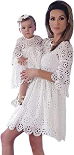 Mom&Me Dresses,Women Baby Lady Women Lace Match Mother Family Mini Dress Clothes White Dresses