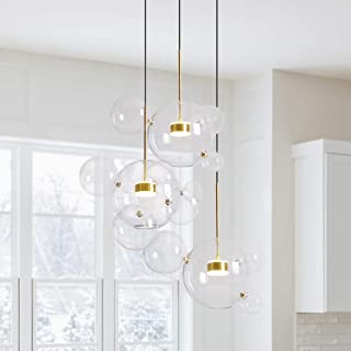 EDISLIVE Soap Bubble Chandeliers with 3 Glass Pendant Light 14 Glass Globe Pendant Ceiling Light for Kitchen Island Lights Fixture