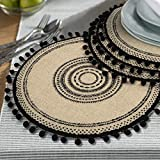 Lahome Tribal Folk Geometric Circles Pattern Round Placemat - Farmhouse Jute Table Mats with Pompom Tassel 15 Inch Place Mat for Dining Room Kitchen Table Decor  (Black, 4)