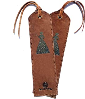 Leather Bookmark Handmade with Woman in Heart Dress Design - Pack of 2 Genuine Leather Book Marks - Perfect Bookmarks for Women & Kids | Great Idea for Leather Gifts for Bookworms Writers & Friends