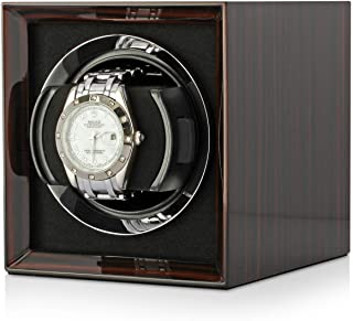 Compact Single Watch Winder Box for Winding 1 Automatic Watch with LCD Touchscreen Display and Rechargeable Battery for All Watch Brands and All Watch Sizes