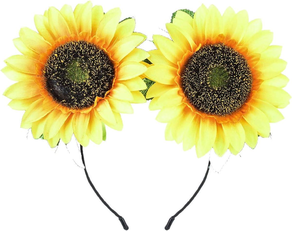 DDazzling Sunflower Crown Sunflower Headband Sunflower Halo Hair Accessories (Big Yellow Headband)
