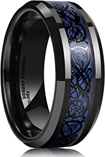 Dragon Men's 8mm Blue Carbon Fiber Black Celtic Dragon Tungsten Carbide Ring Wedding Band