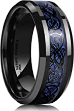 King Will Dragon Men's 8mm Blue Carbon Fiber Black Celtic Dragon Tungsten Carbide Ring Wedding Band