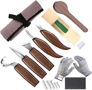 Outil de sculpture pour bois, couteau à crochet, couteau à bois, couteau à sculpter, couteau à biseau, couteau pour cuillè...