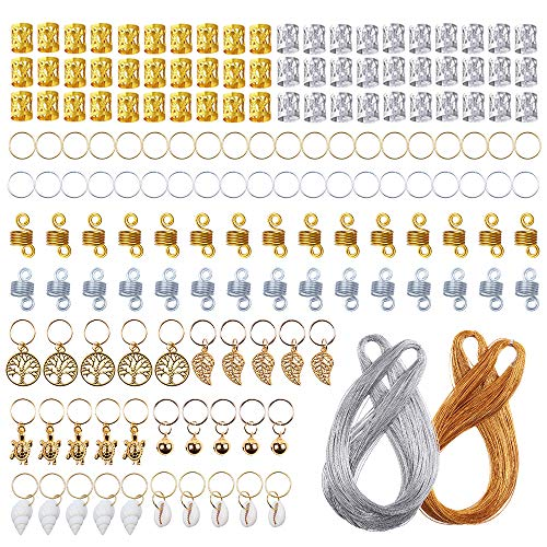 YMHPRIDE 160 Pcs Hair Jewelry Rings Aluminum Dreadlocks Beads Metal Hair Cuffs Hair Decorations Pendants with 200 M Metallic Cord(100 M Golden and 100 M Silver)